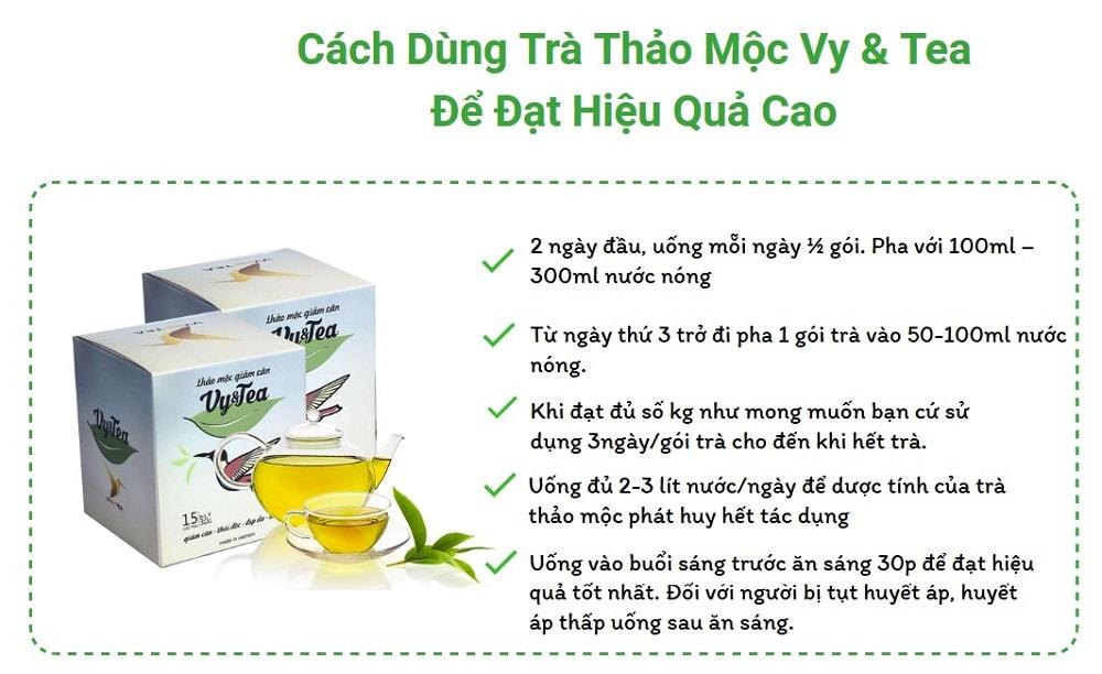 Cách sử dụng trà thảo mộc giảm cân Vy&Tea