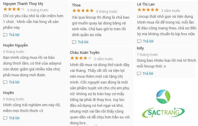 Cốc nguyệt san Lincup của Mỹ được khách hàng phản hồi rất tốt khi sử dụng