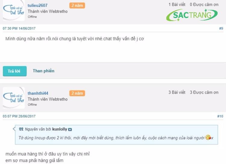 Review cốc nguyệt san Lincup từ phía khách hàng sử dụng trên diễn đàn webtretho.com