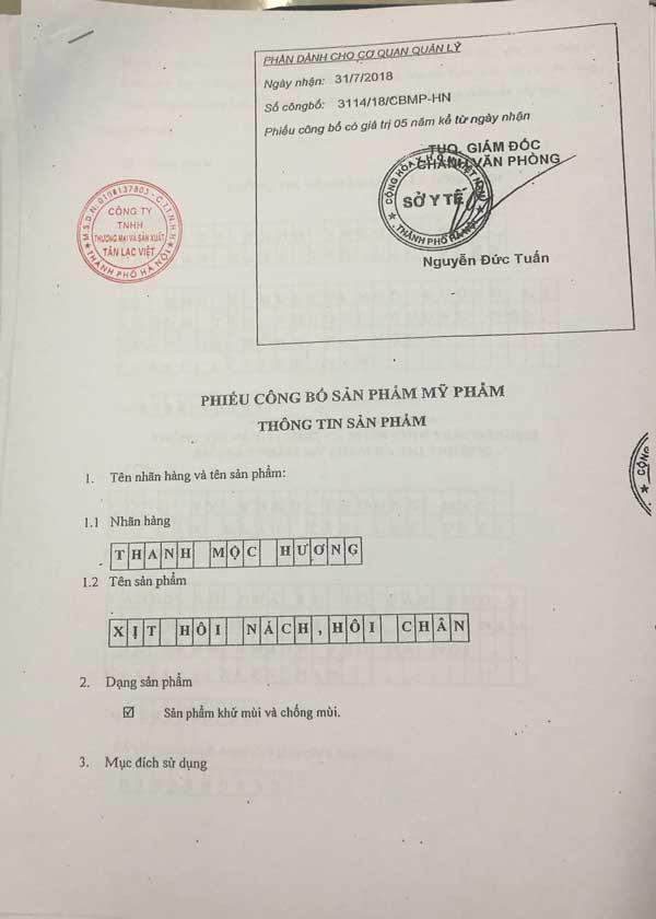 Giấy công bố sản phẩm Xịt Hôi Nách Hôi Chân Thanh Mộc Hương